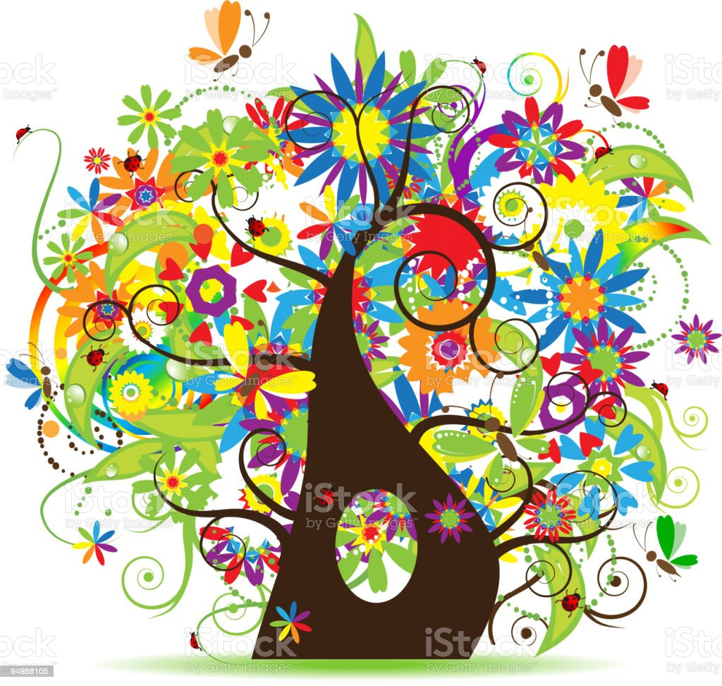Abstract floral tree background royalty-free stock vector art