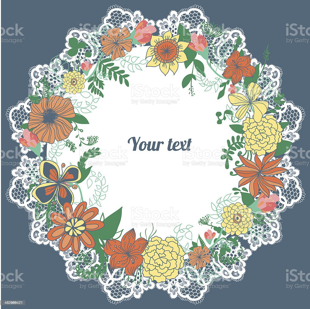 Abstract floral wreath and lacy napkin with place for text royalty-free stock vector art