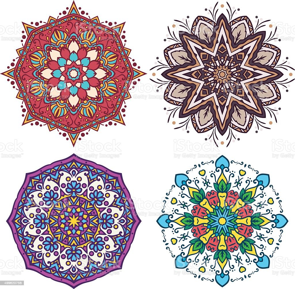 Abstract Flower and Mandala Set vector art illustration