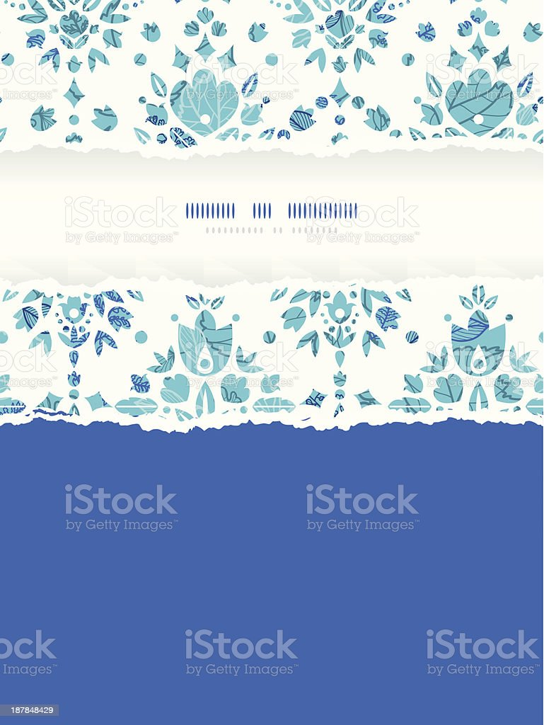 Abstract Flower Damask Vertical Torn Frame Seamless Pattern Background royalty-free stock vector art