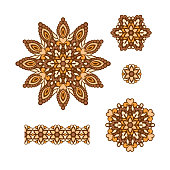 Abstract Flower Patterns. Decorative ethnic elements for design.