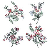 Abstract flower set, fantasy colorful blossom, doodle plants. For the