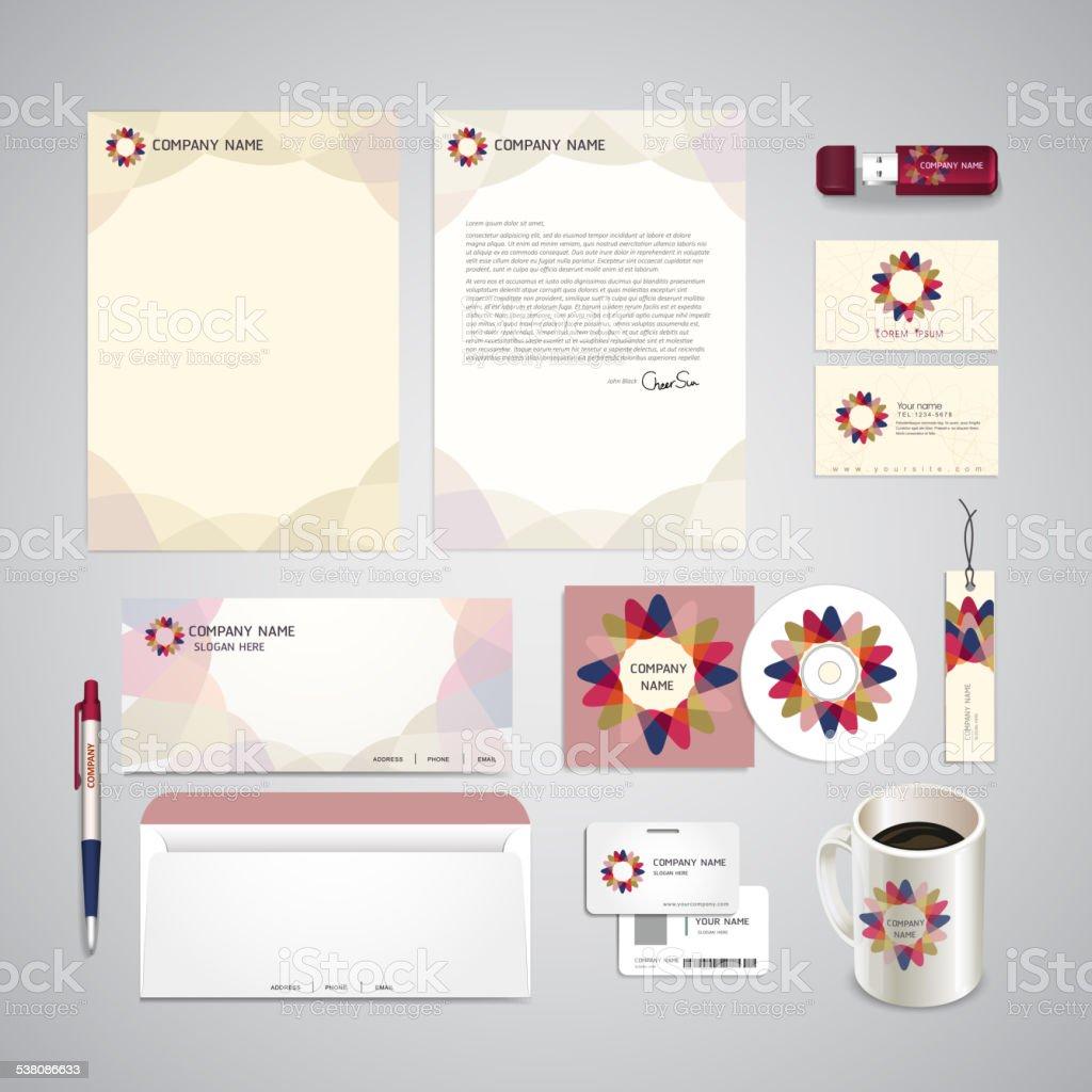 abstract flower symbol background corporate identity set vector art illustration