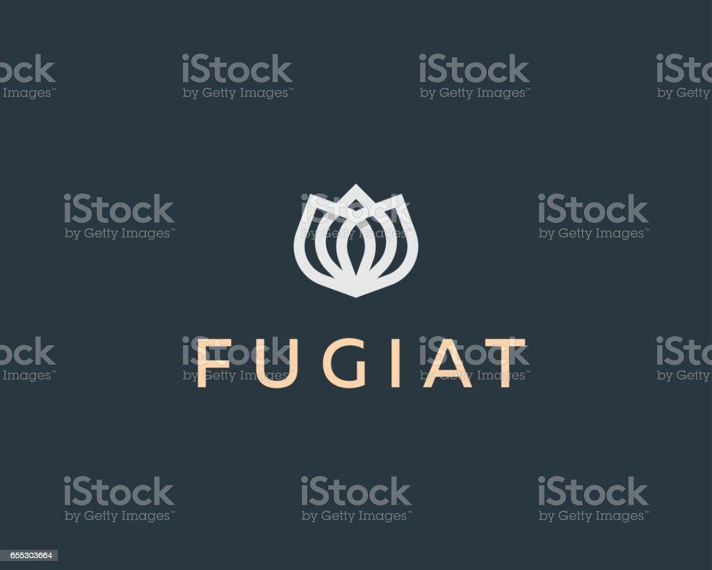 Abstract flower vector logotype. Elegant crown linear symbol. Premium icon logo. vector art illustration