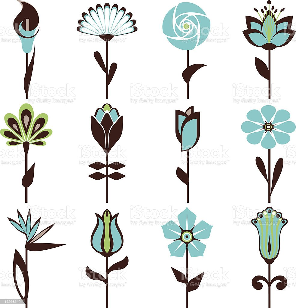 Abstract flowers in blue and black pattern vector art illustration