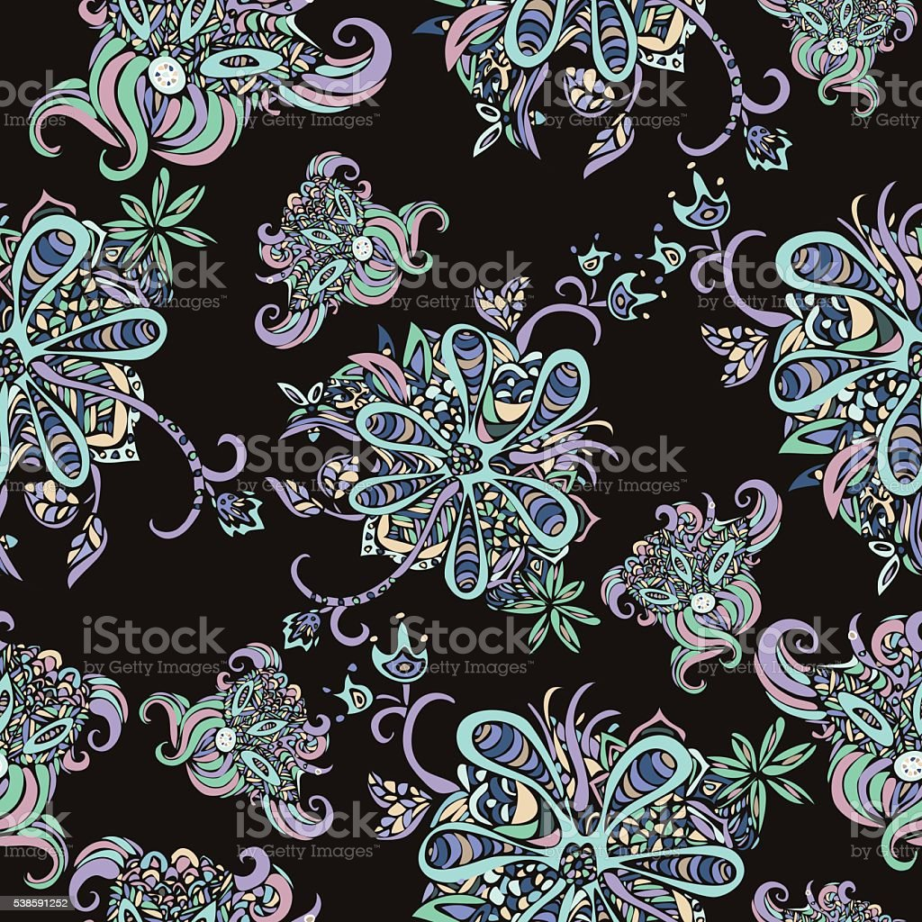 Abstract flowers seamless pattern. Multicolored doodle against a dark background royalty-free stock vector art