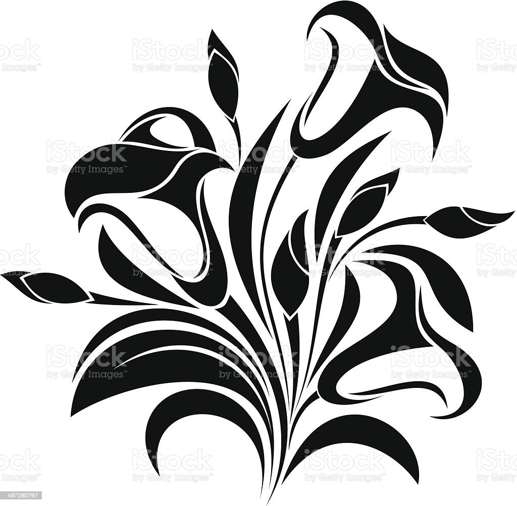 Abstract flowers. Vector black silhouette. royalty-free stock vector art