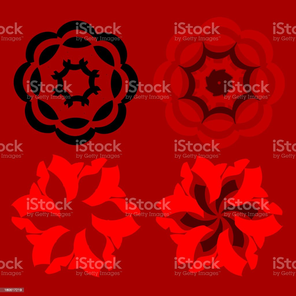 abstract four floral pattern royalty-free stock vector art