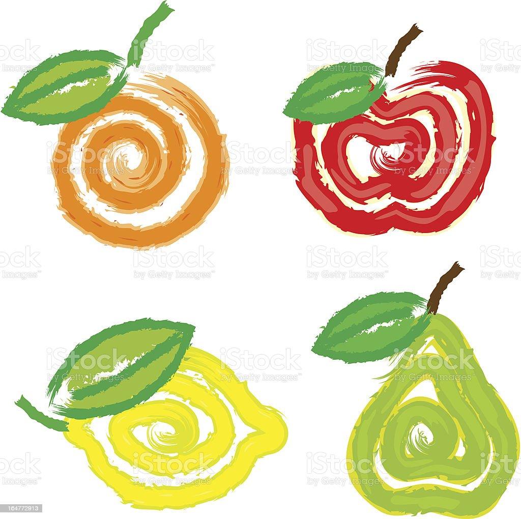 Abstract fruits vector art illustration