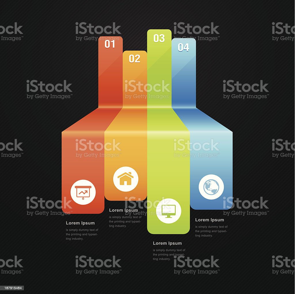 Abstract full color info graphics with icon royalty-free stock vector art