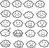 Abstract funny flat style emoji emoticon icon set,cloud black