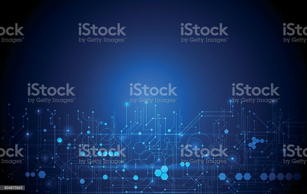 Abstract futuristic circuit board, high computer technology dark blue background vector art illustration