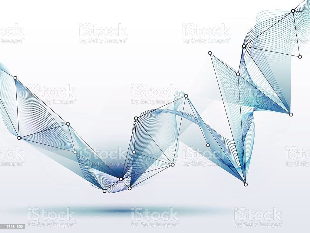 Abstract futuristic-Molecules and wave digital technology vector art illustration