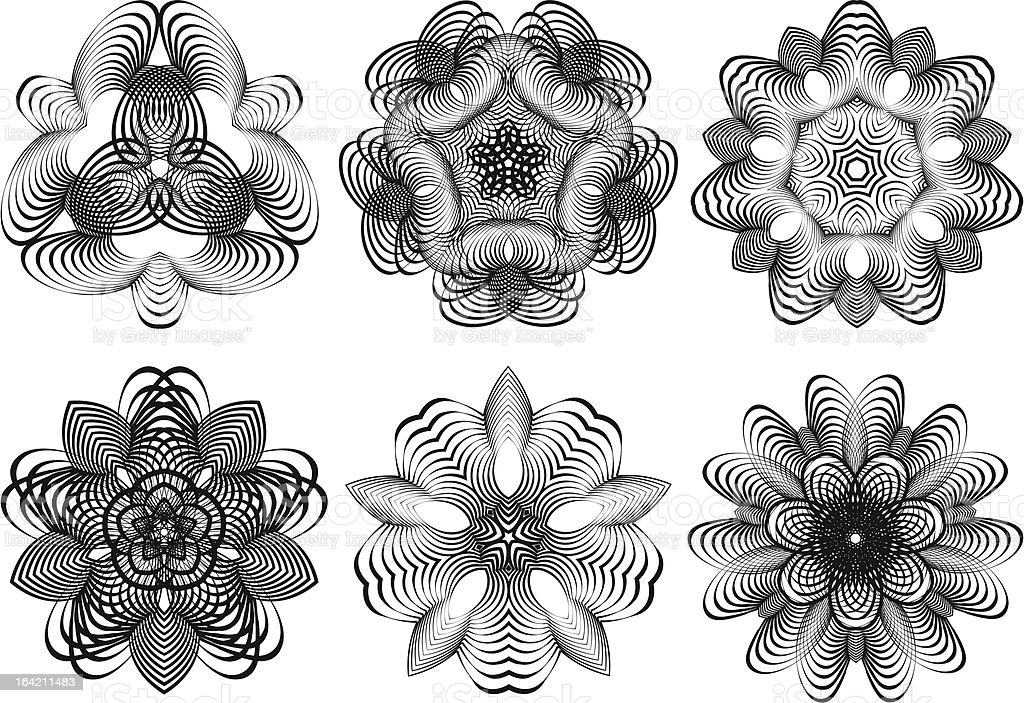 Abstract geometric flowers, vector set royalty-free stock vector art