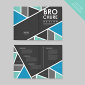 abstract geometric half-fold brochure template for business