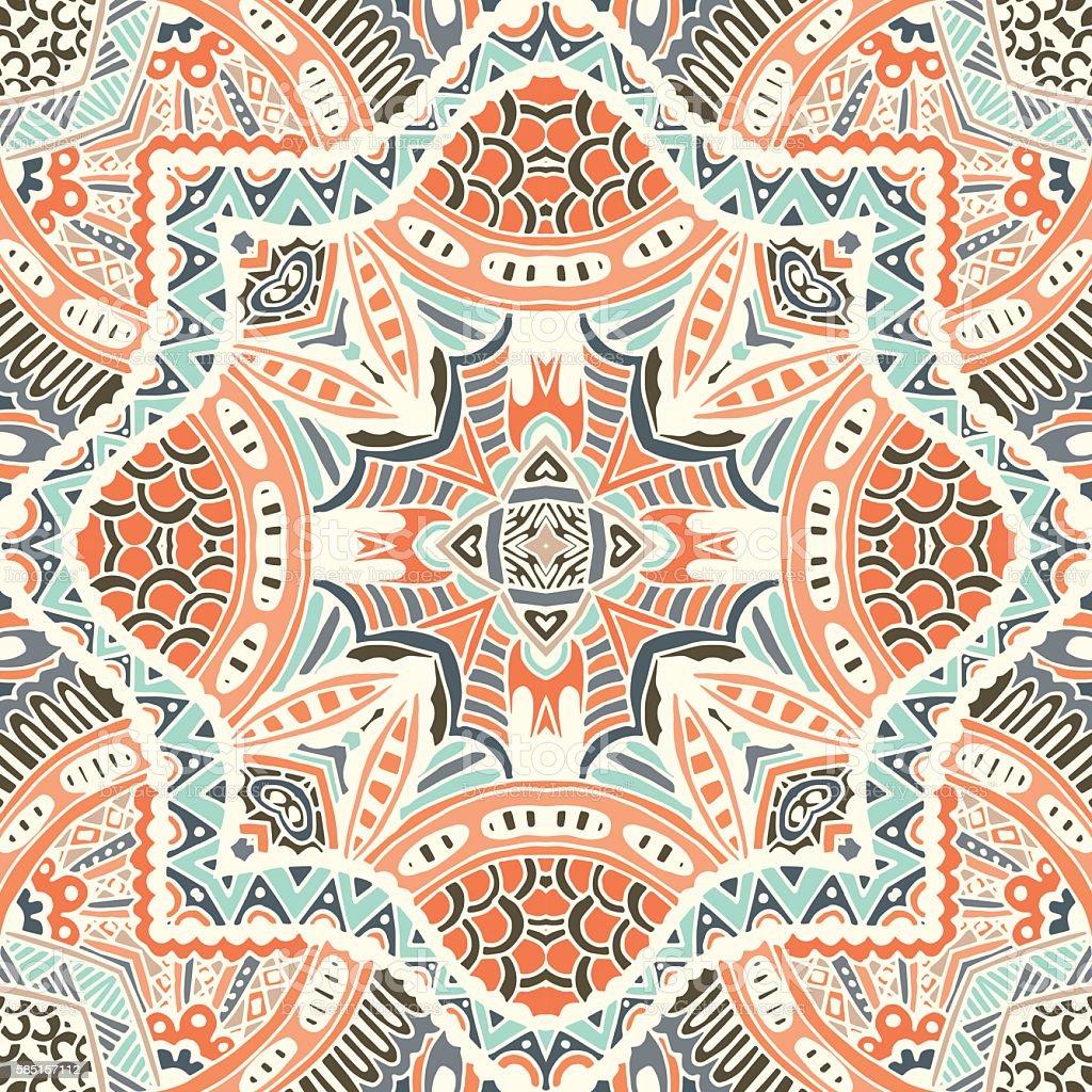 Abstract geometric mosaic vintage ethnic ornamental vector art illustration