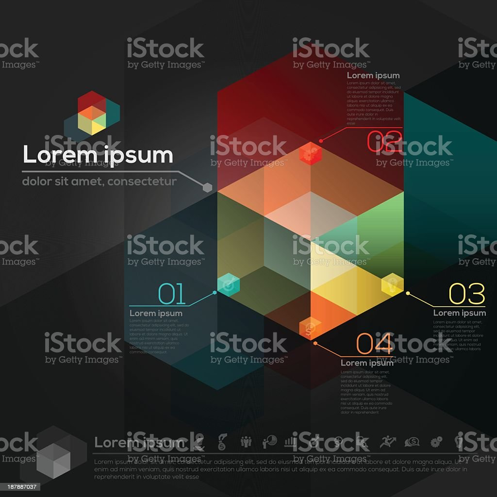 Abstract geometric polygon cube design element royalty-free stock vector art