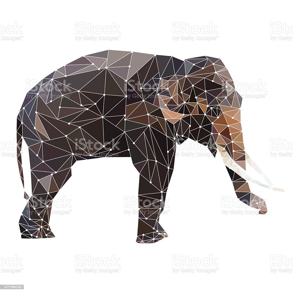 abstract geometric polygon elephant isolated on white background vector vector art illustration
