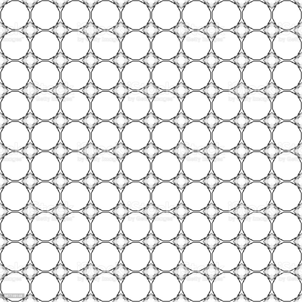 Abstract geometric seamless pattern. Black and white style pattern with circle and line. vector art illustration
