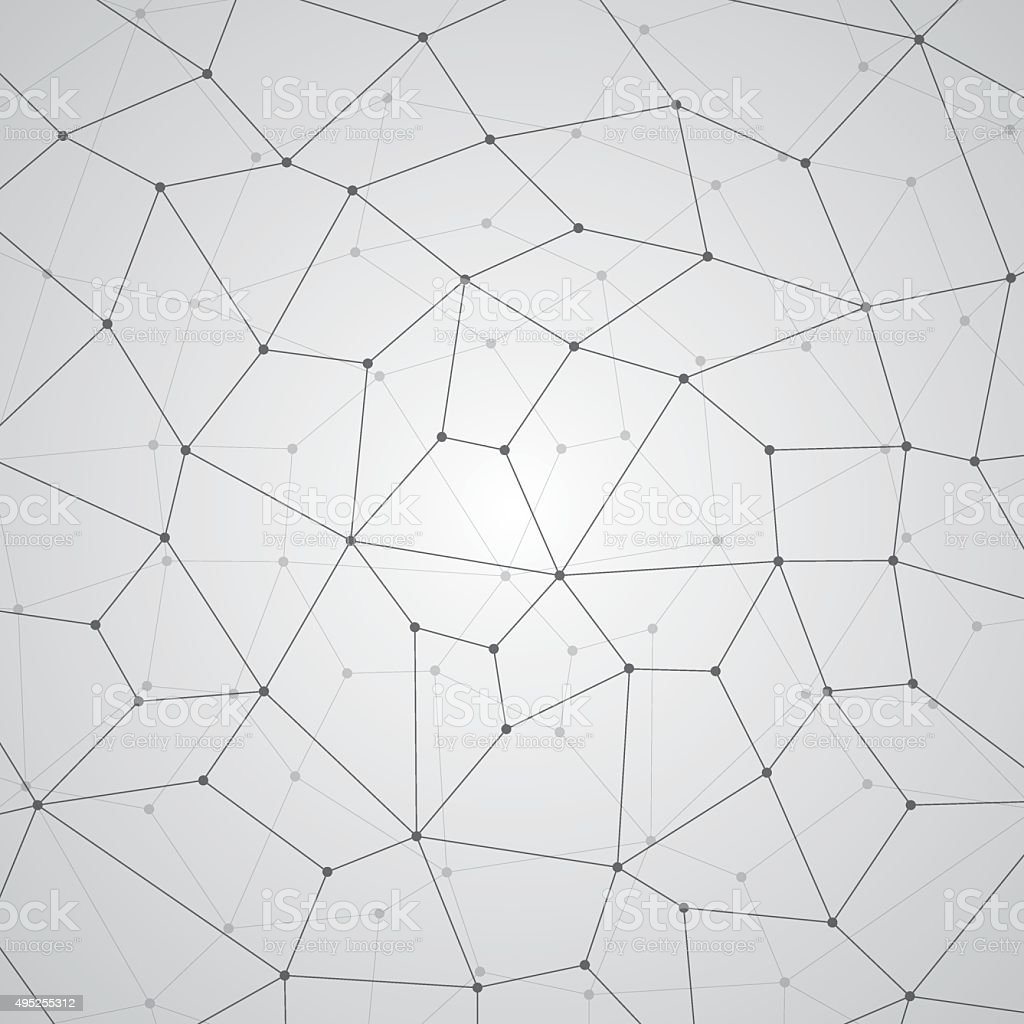 Abstract geometry, lines and points, quadrangles vector art illustration
