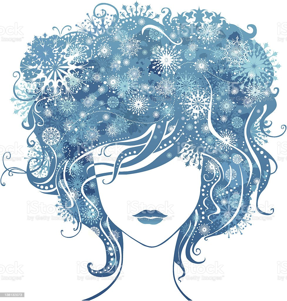 Abstract girl with snowflakes in hair royalty-free stock vector art