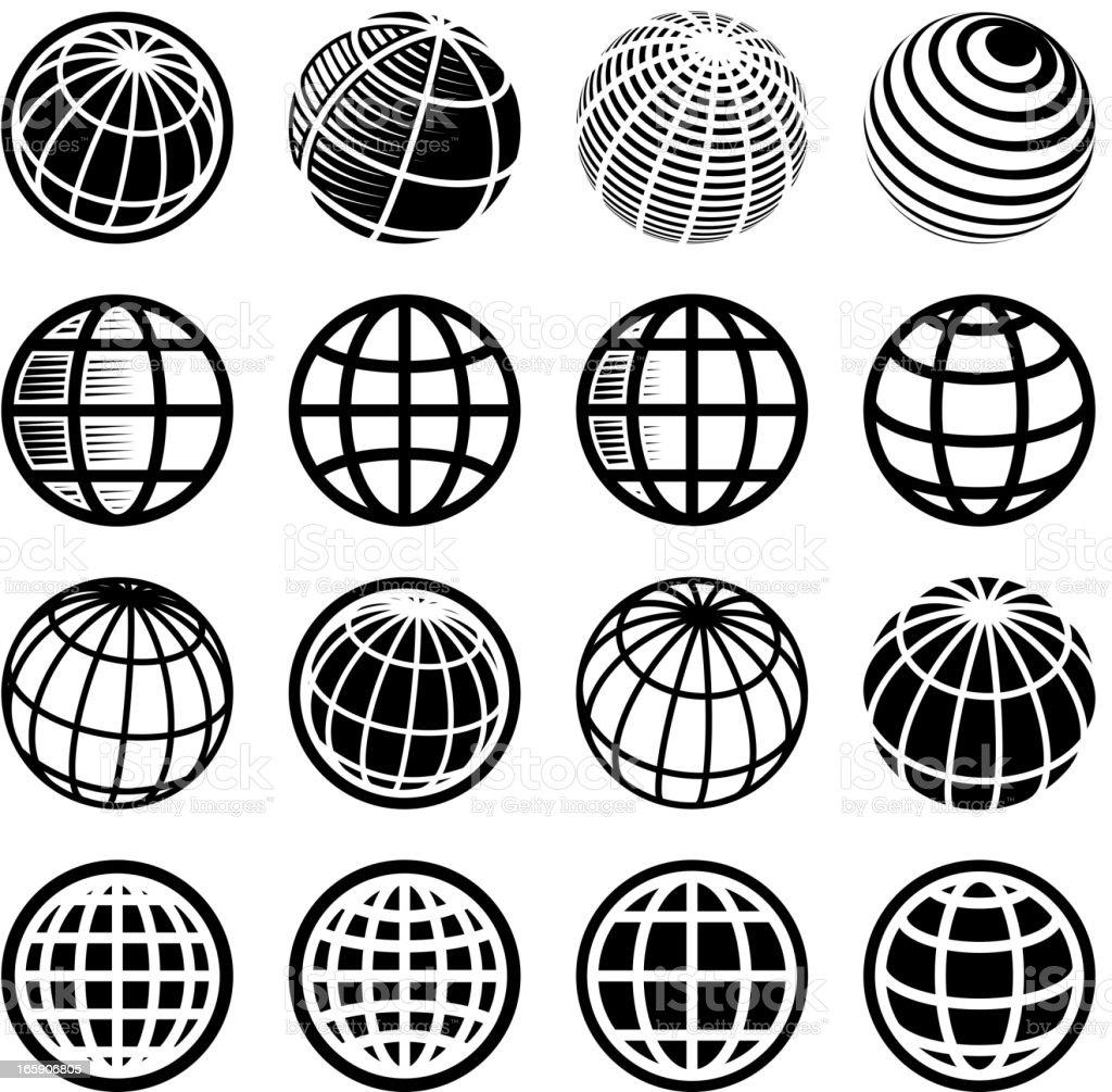 Abstract Globe black & white icon set vector art illustration