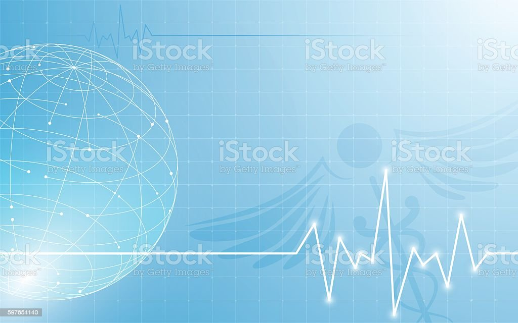 abstract globe with medical health care innovation design concept background vector art illustration