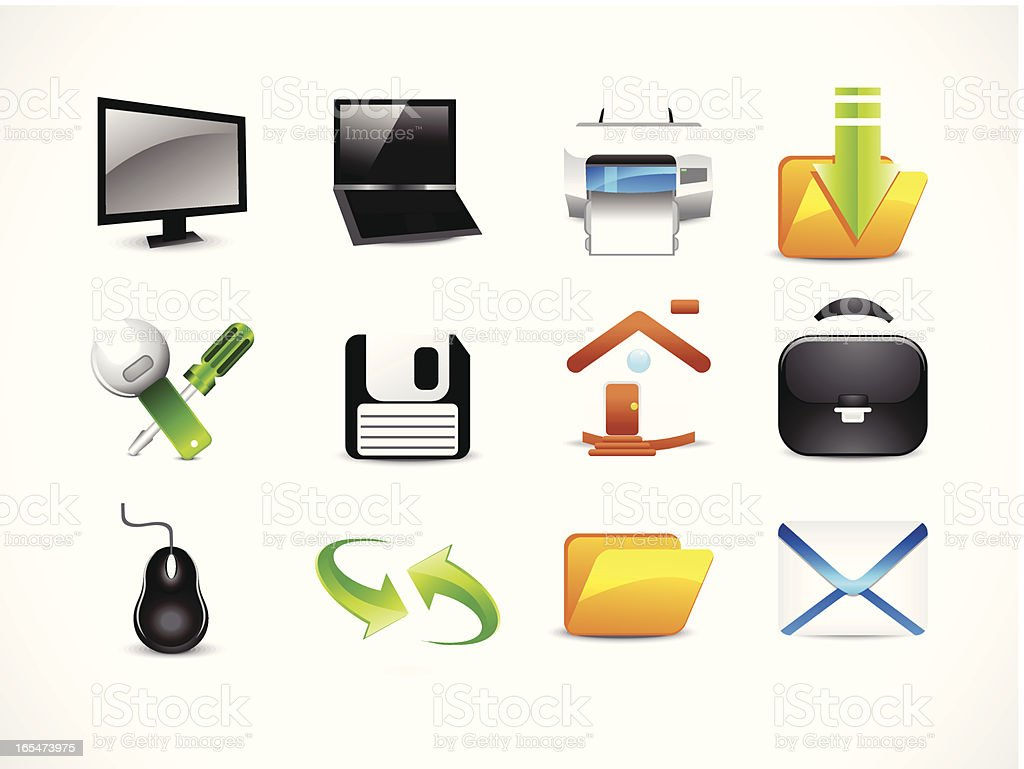 abstract glossy computer icon set royalty-free stock vector art