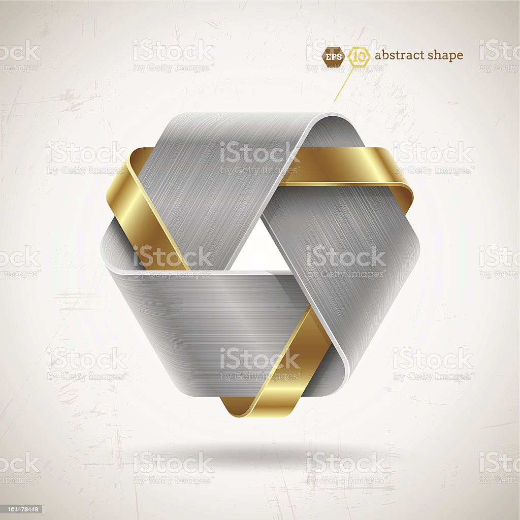 Abstract gold and silver metal shape royalty-free stock vector art