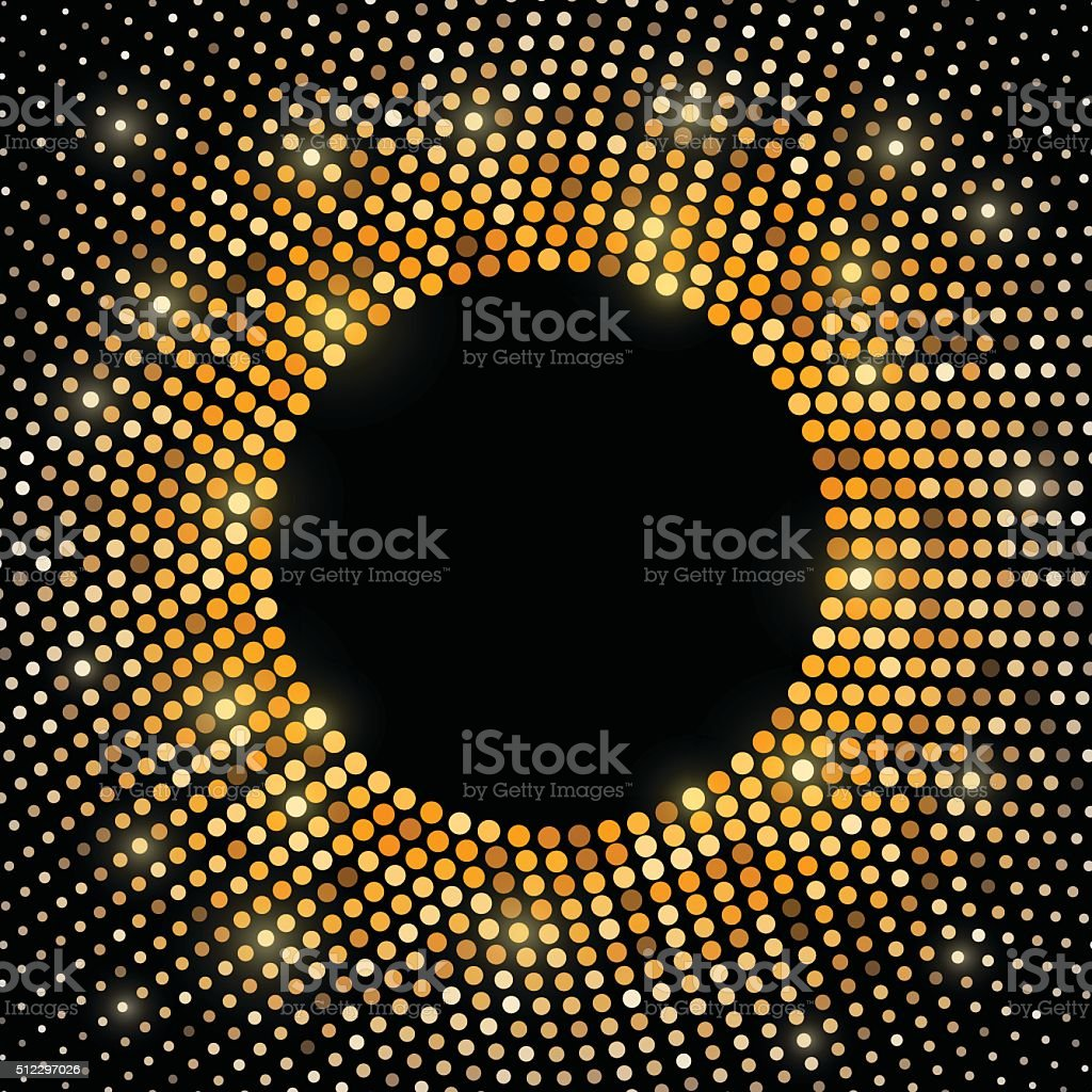 Abstract gold disco halftone background vector art illustration
