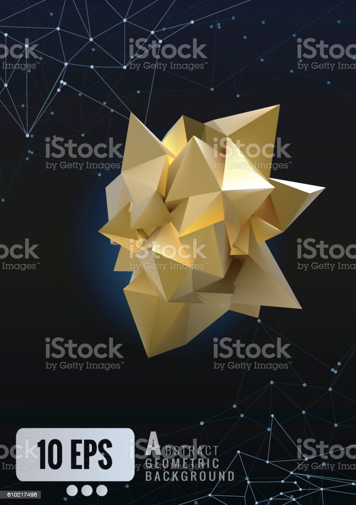 Abstract  gold geometric in paper shape glowing on dark backgrou vector art illustration