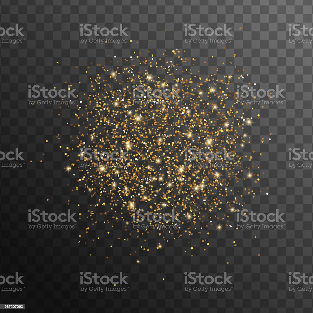 Abstract gold glittering overlay effect vector art illustration