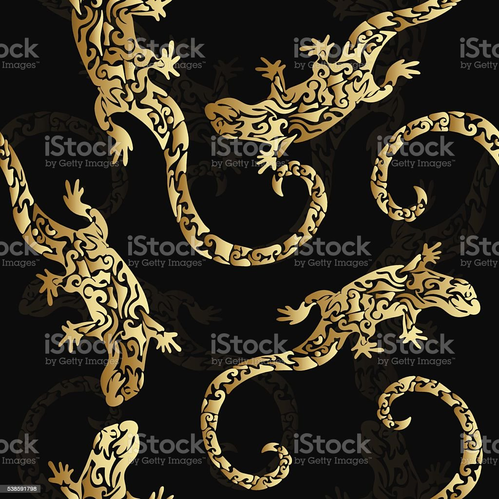 Abstract golden curly figured lizards, seamless pattern royalty-free stock vector art