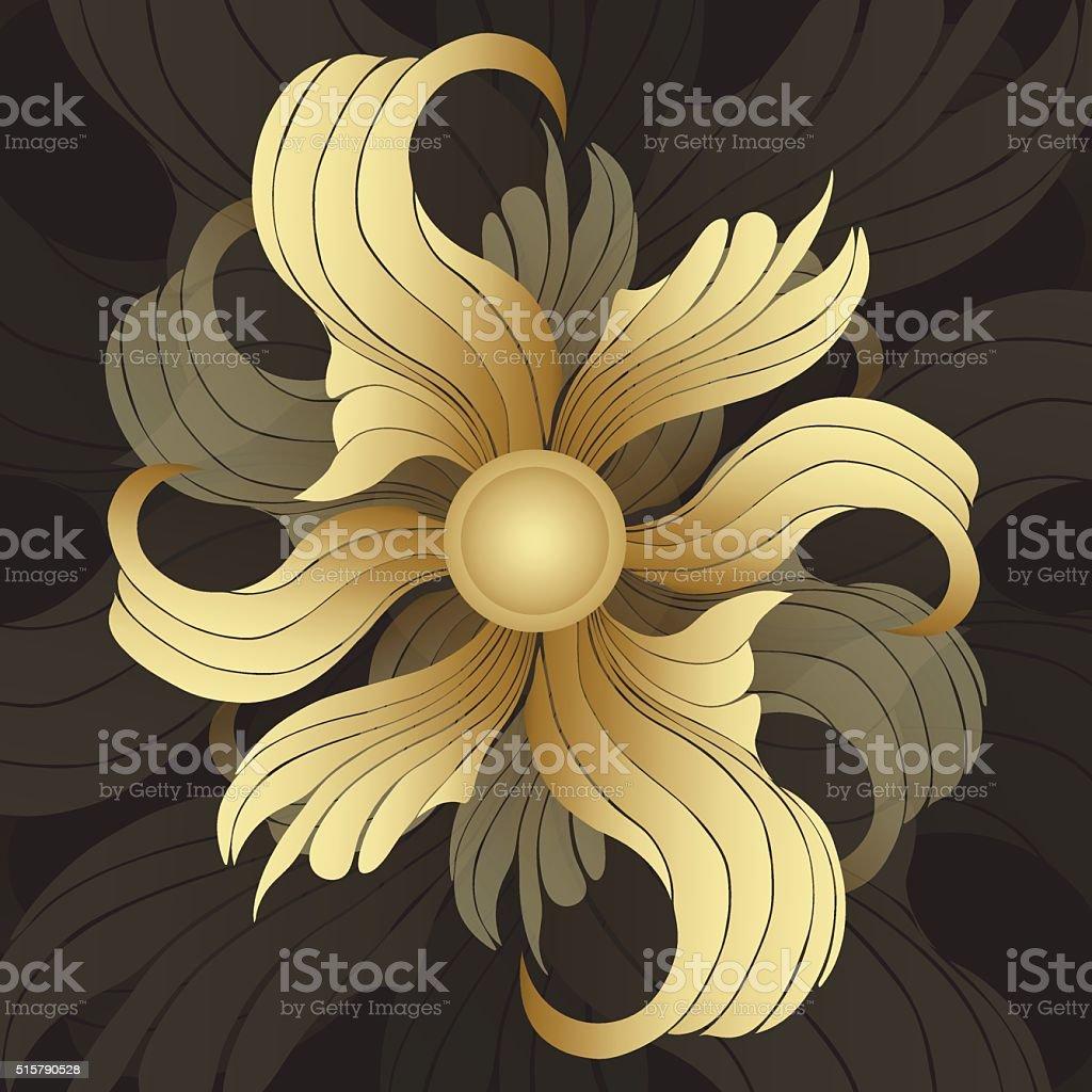 Abstract golden flowers. Golden buds royalty-free stock vector art