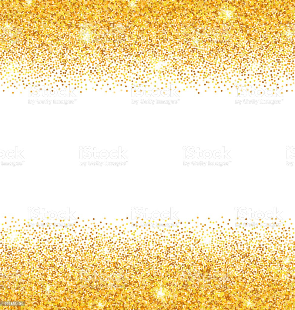Abstract Golden Sparkles on White Background. Gold Glitter Dust vector art illustration