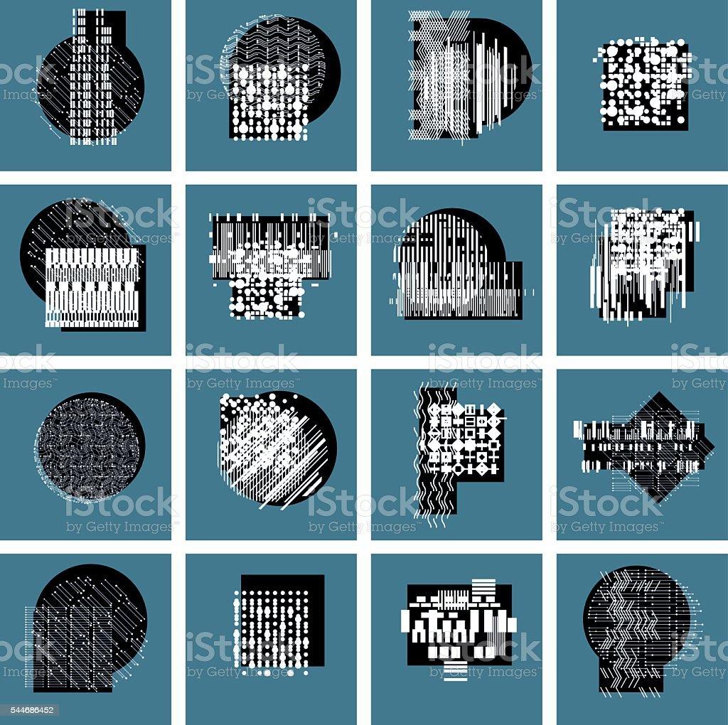 Abstract graphic arts set, vector geometric illustrations collecion vector art illustration