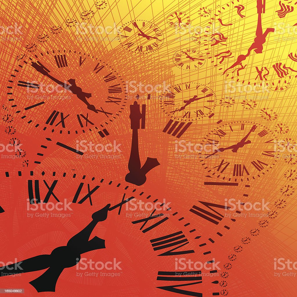 Abstract graphic of clock faces with Roman numerals royalty-free stock vector art