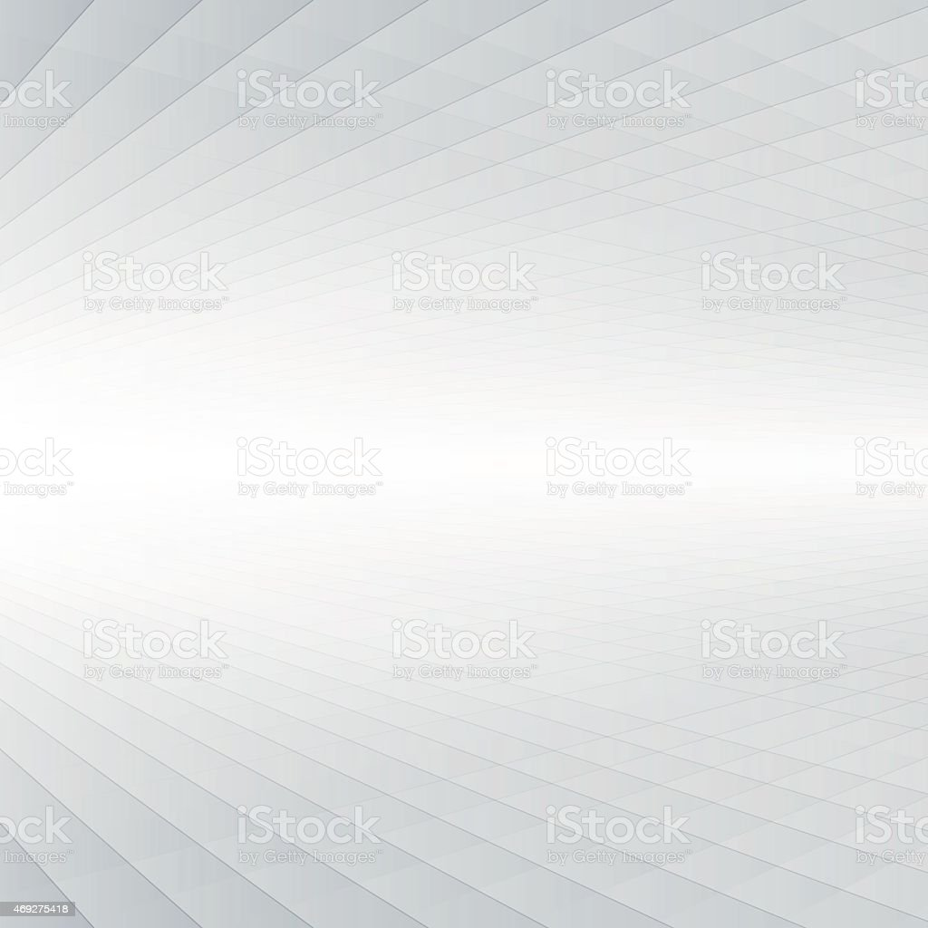 Abstract graphic with depth perspective in white & gray vector art illustration
