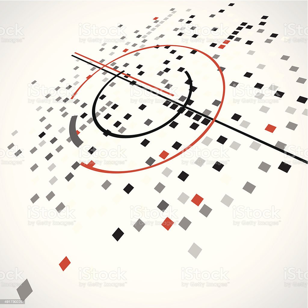 abstract gray check with red line pattern technology background vector art illustration