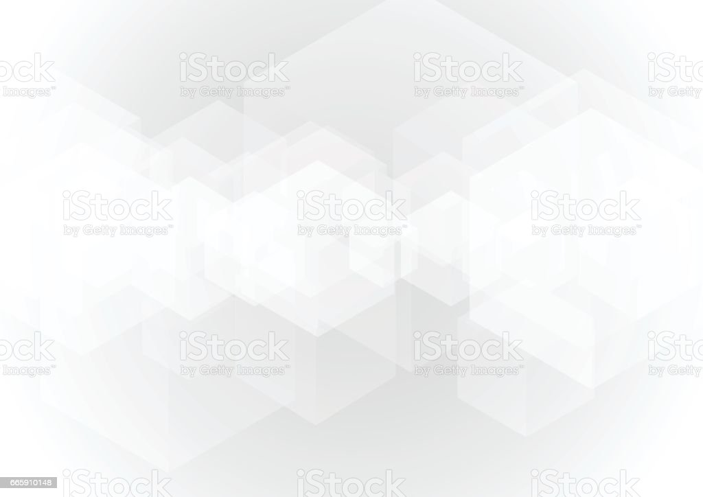 Abstract gray transparent cube background vector art illustration