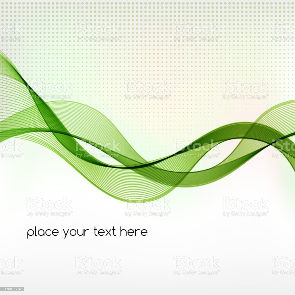 Abstract gray-dotted background with green waves royalty-free stock vector art