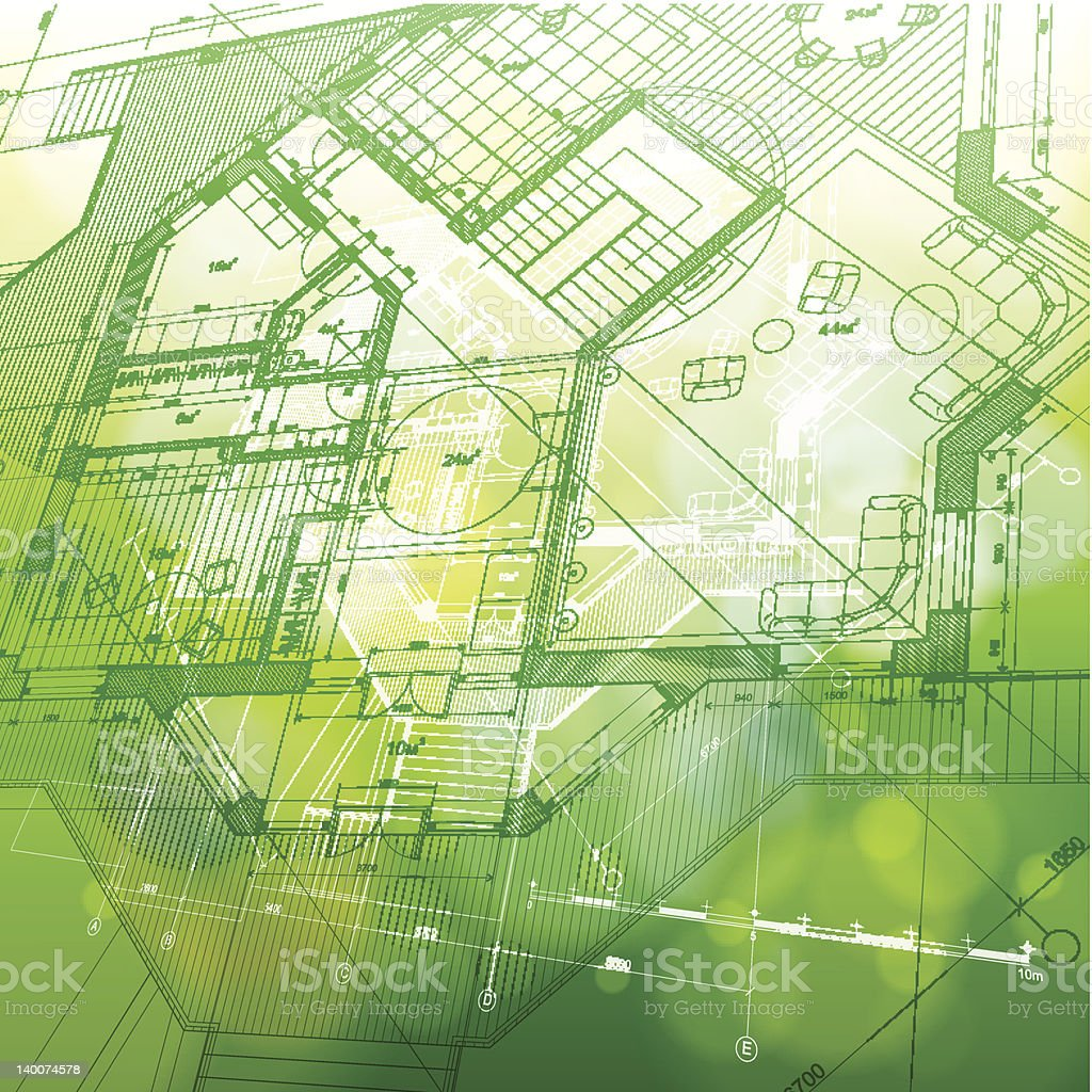 Abstract green and yellow house plan design background vector art illustration