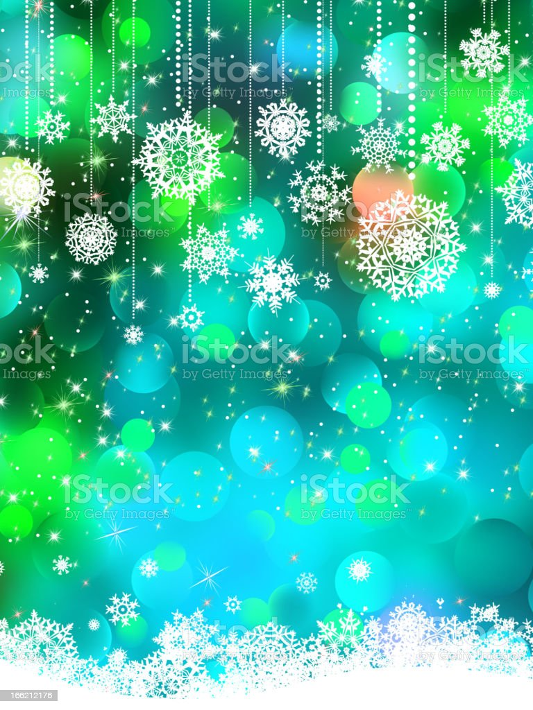 Abstract green blue winter with snowflakes. EPS 8 royalty-free stock vector art