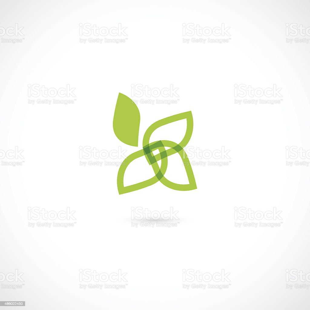 abstract green eco icon vector art illustration