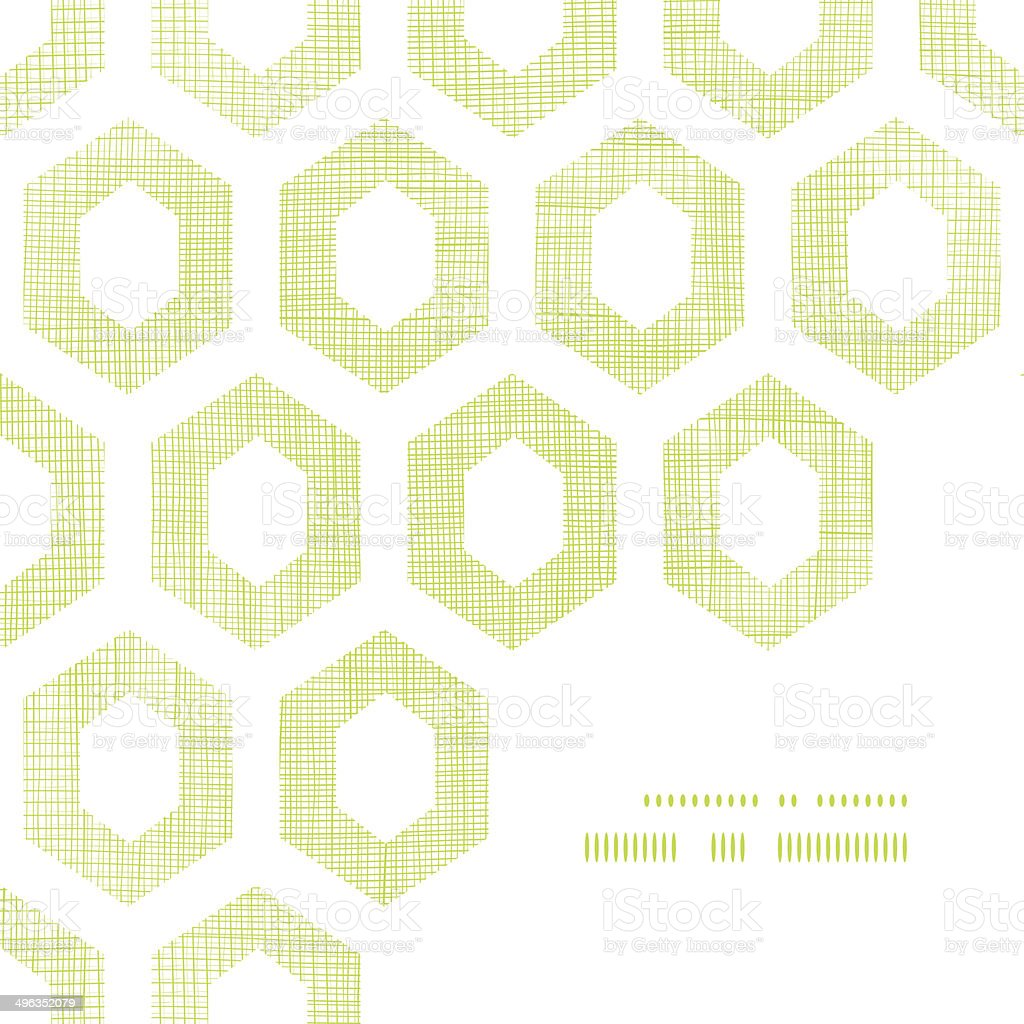 Abstract green fabric textured honeycomb cutout corner frame pattern background royalty-free stock vector art