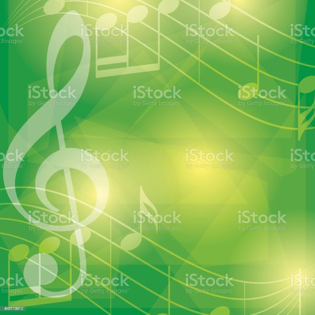 abstract green music background with notes - vector vector art illustration