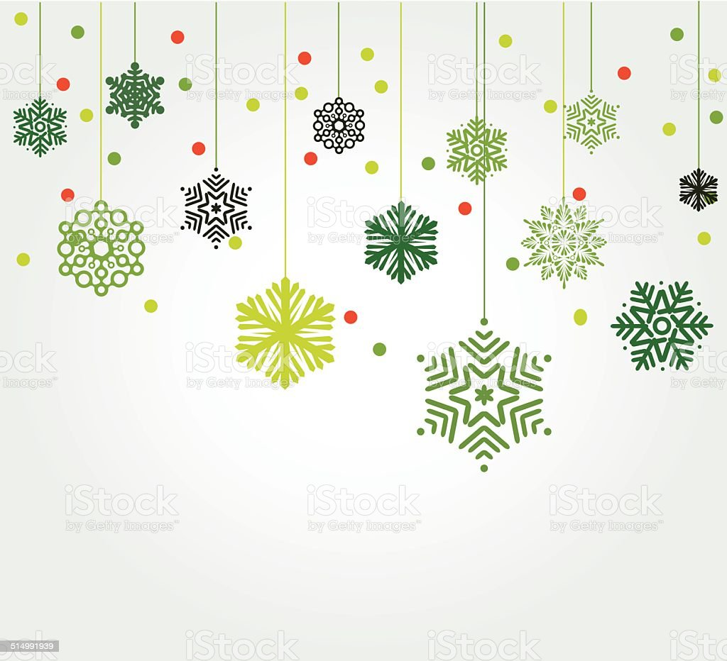 abstract green snowflake pattern background vector art illustration