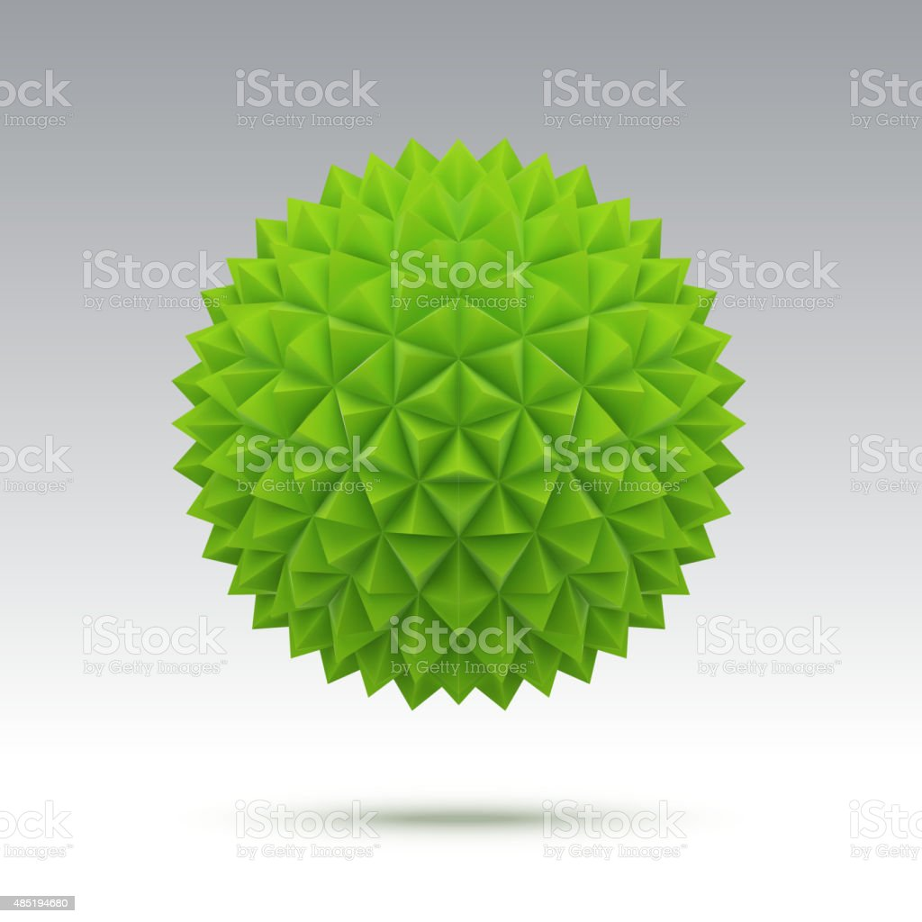 Abstract green vector sphere with triangular faces vector art illustration
