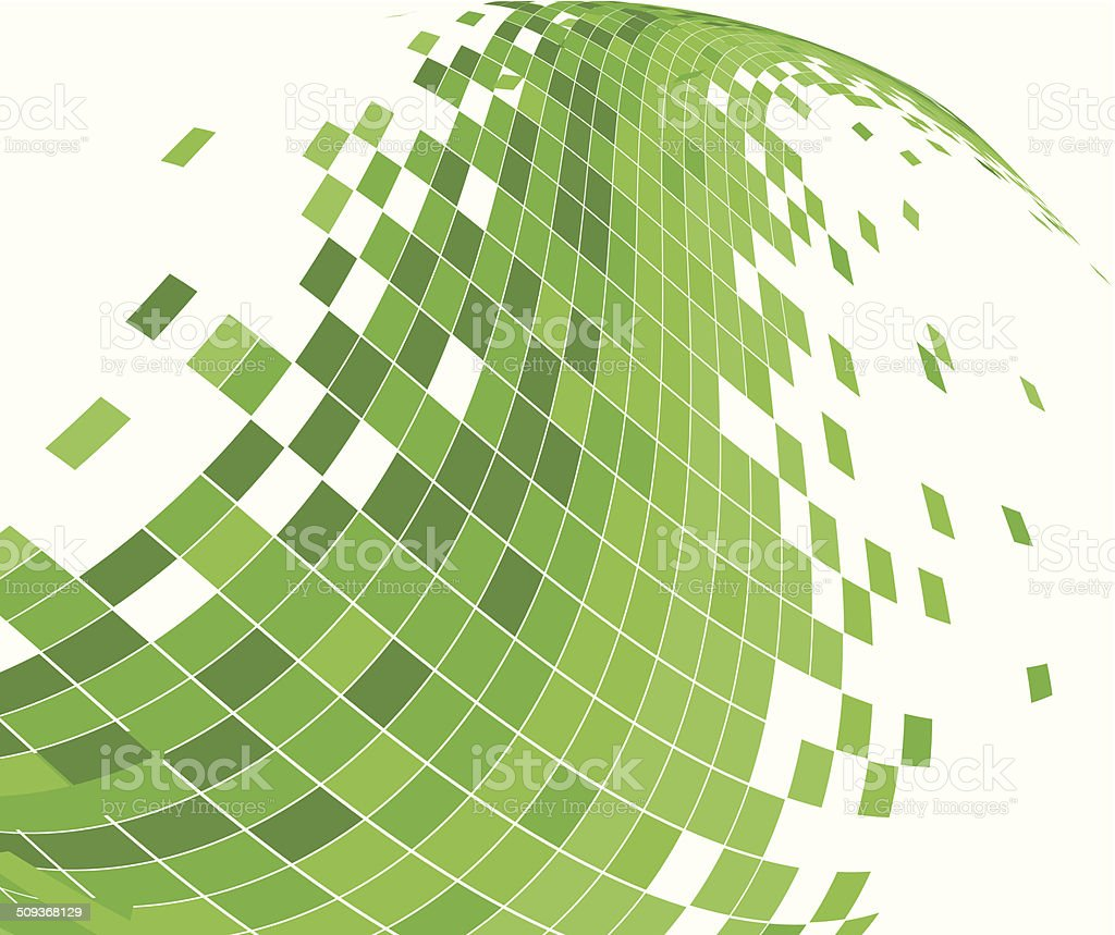 abstract green wave check pattern background vector art illustration