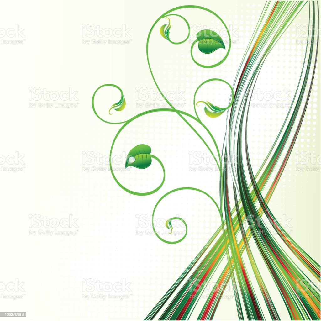 Abstract green wave with leaves royalty-free stock vector art